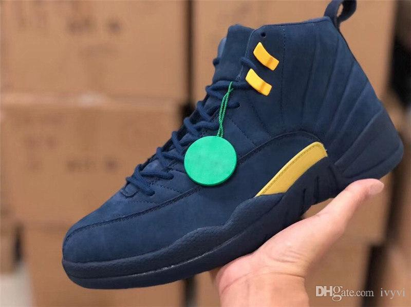 cheap for discount d8121 f813d 2018 Newest Release 12 RTR MICHIGAN NRG MICHIGAN x PSNY 12S Man Basketball  Shoes Real Carbon Fiber Sneakers Come With OG Box BQ3180-407