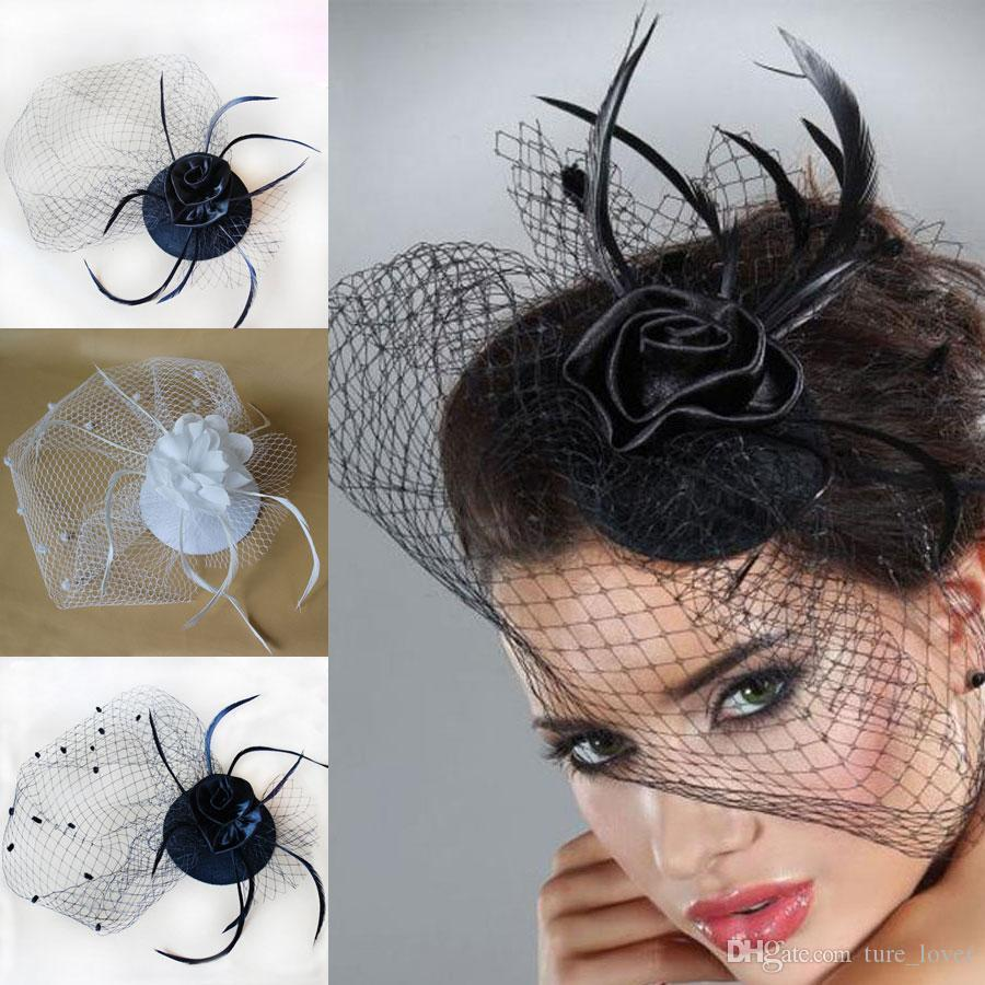 2017 Hot Cheap Bridal Veil Accessories White Black Feathers Hat Clip Accessories For Christmas Party Wedding Dresses Hair Wear