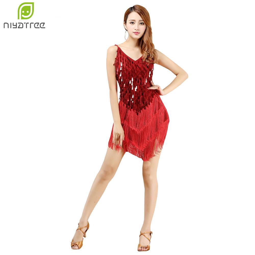 e0ba793f88cb 2019 Sexy Elegant Women Dance Dress Latin Dance Tassel Dress Women Sequin  Fringe Latin Skirt Samba Salsa Dresses Costumes From Vineger, $28.99 |  DHgate.Com