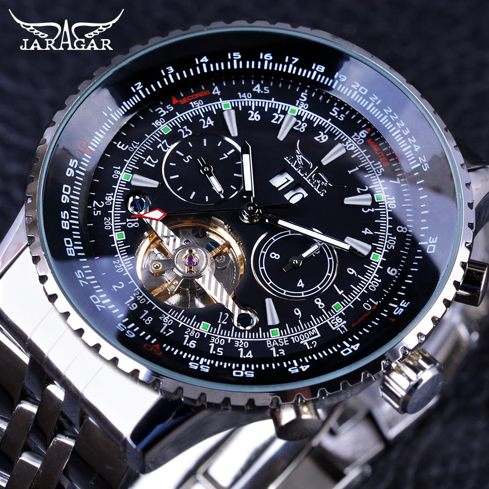 8fa35462fc934 Compre X Jaragar Aviador Série Prata Aço Inoxidável Toubillion Design Scale  Dial Mens Relógios Top Marca De Luxo Relógio Automático Relógio De Ruiqi08
