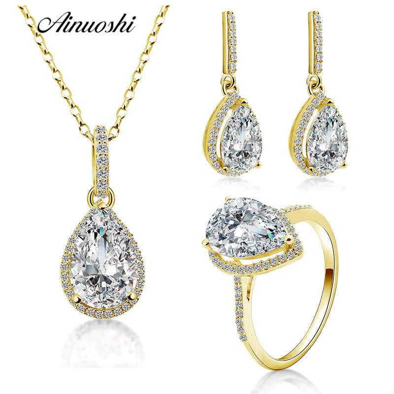 ac676d26f8061 AINUOSHI 10K Solid Yellow Gold Women Jewelry Sets Pear Cut Big Stone  Droplet Pendant Ring Drop Earring Luxury Lady Jewelry Sets