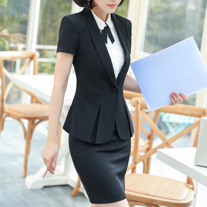 29d624c761d95e Großhandel Sommer Dünne Mode Arbeitskleidung Frauen Rock Anzug Business Formale  Büro Damen Plus Größe Kurzarm Blazer Mit Rock Uniform Von Bevarly
