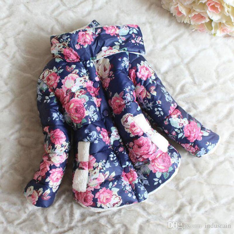 c402cc590 Kids Baby Flower Floral Print Plus Velvet Girls Winter Coat Children Winter  Jacket For Girls Cotton Padded Parkas Down Jacket Toddler Girl Boy Down Coat  ...