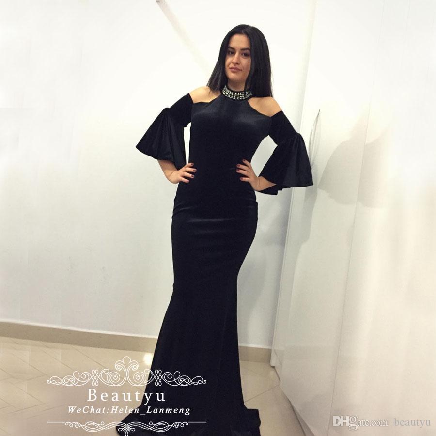 ca85496ecb6 High Neck Sexy Mermaid Evening Dresses Arabic Black Velvet Short Sleeves  Pearls Long Plus Size Yousef Aljasmi 2019 African Prom Formal Gowns Evening  Dresses ...