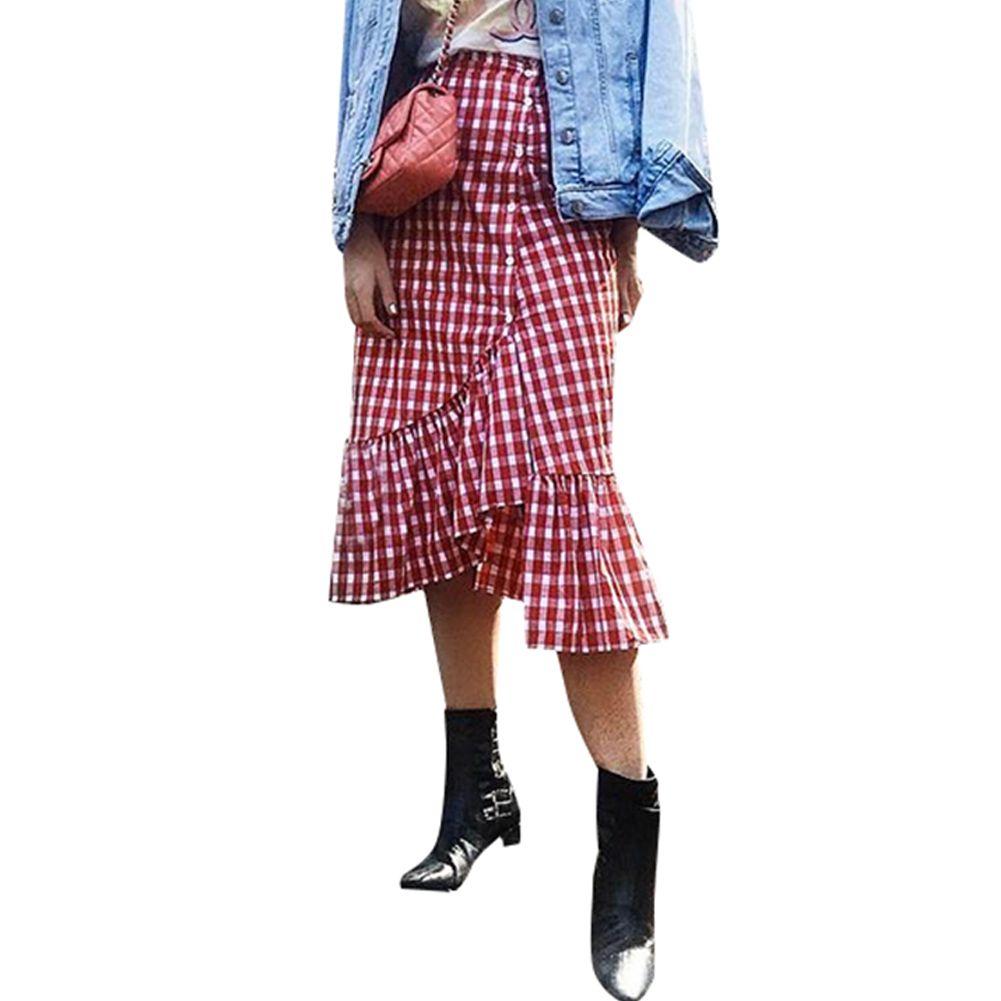 gran venta 80030 bb97c 2018 Otoño Moda Faldas A Cuadros de Cintura Alta Falda de Las Mujeres  Elegantes Señoras Vintage Ruffle Asymmetry Maxi Falda Saia Longa Jupe Femme