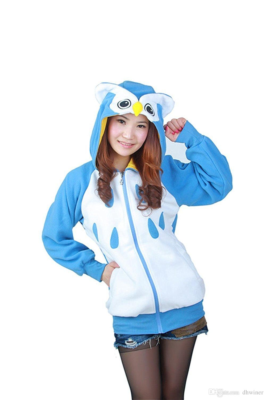 Unisex Adulto Hoodies Animal Costume Pullover Zip Completo com Bolsos Coruja