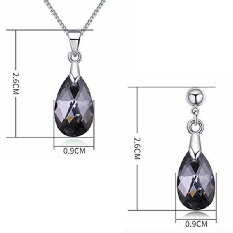 Wassertropfen Kristall von Swarovski Elements Hochwertige Halskette Ohrringe Frauen Schmuck Sets Strass Bijoux Zubehör 27382