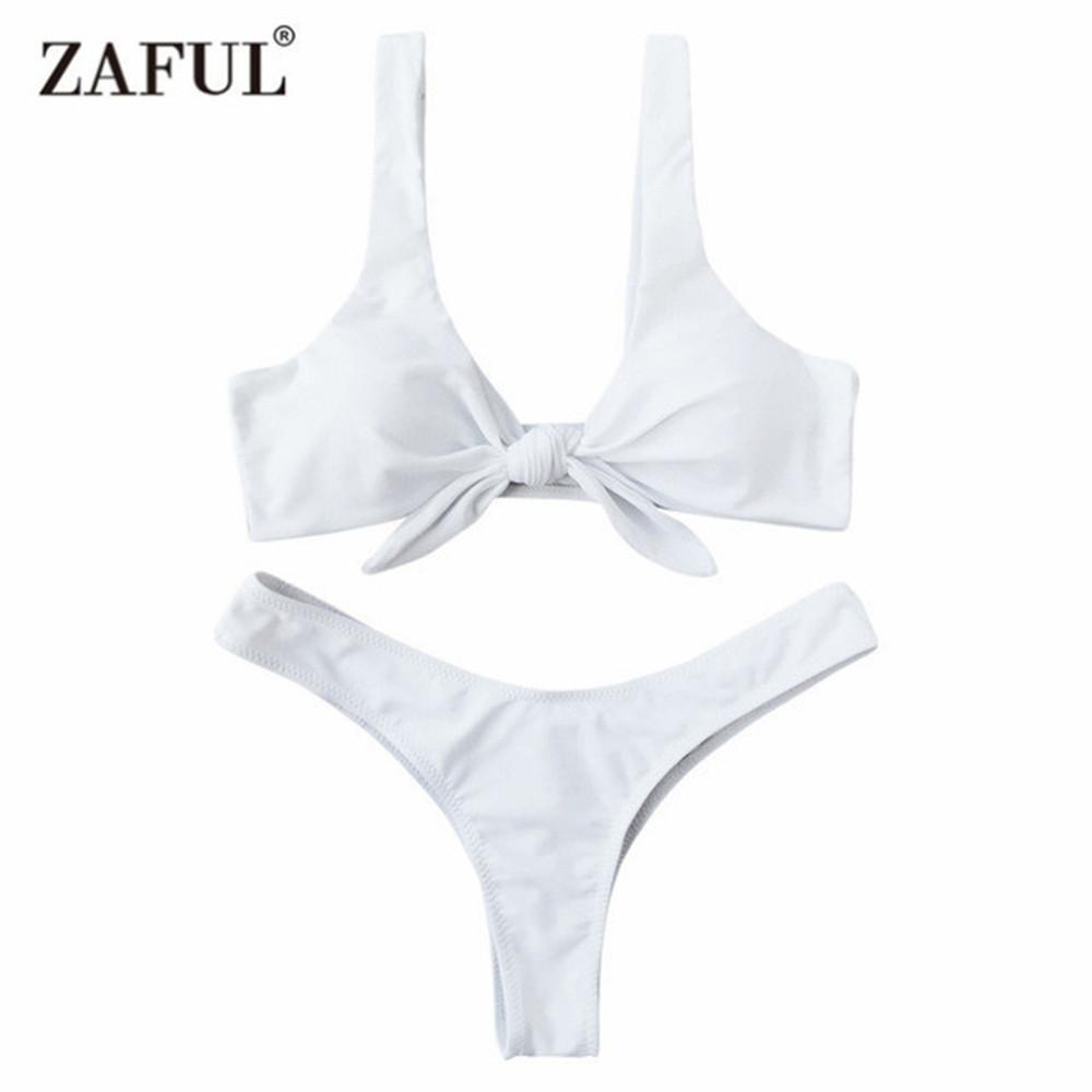 701563e81cd674 2019 Zaful Swimsuit New Arrival Women Knotted Padded Thong Bikini Mid  Waisted Solid Color Scoop Neck Brazilian Biquni Beach Swimwear From Ppkk,  ...