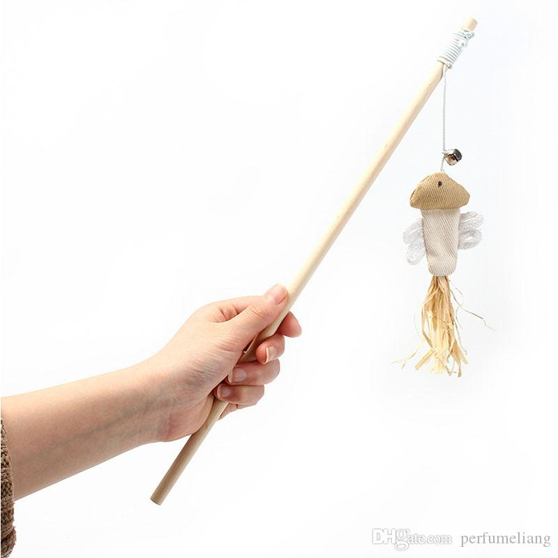 Natural Wooden Funny Cat Stick With Elastic Rope Bell Cats Feather Toys Pet Supplies Product ZA6682