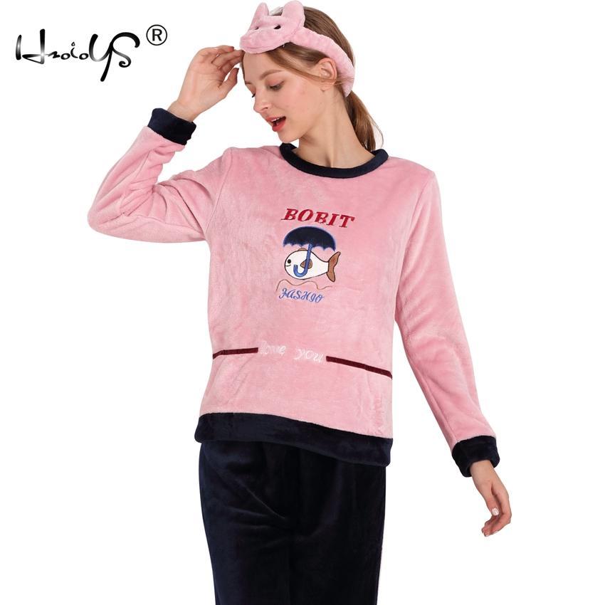 a8782b5ca3c 2019 Autumn And Winter Thickening Flannel Pajama Sets Sleepwear Female  Cartoon Pajamas Lounge Coral Fleece Pyjama Pullover Nightwear From  Instrumenthome