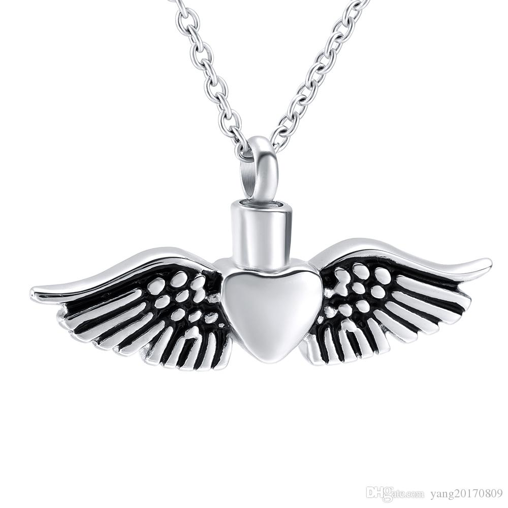 IJD8577 Heart Angel Wings Ash Urn Jewelry Lovely Stainless Steel Cremation Urn Pendant for Women & Men Memorial