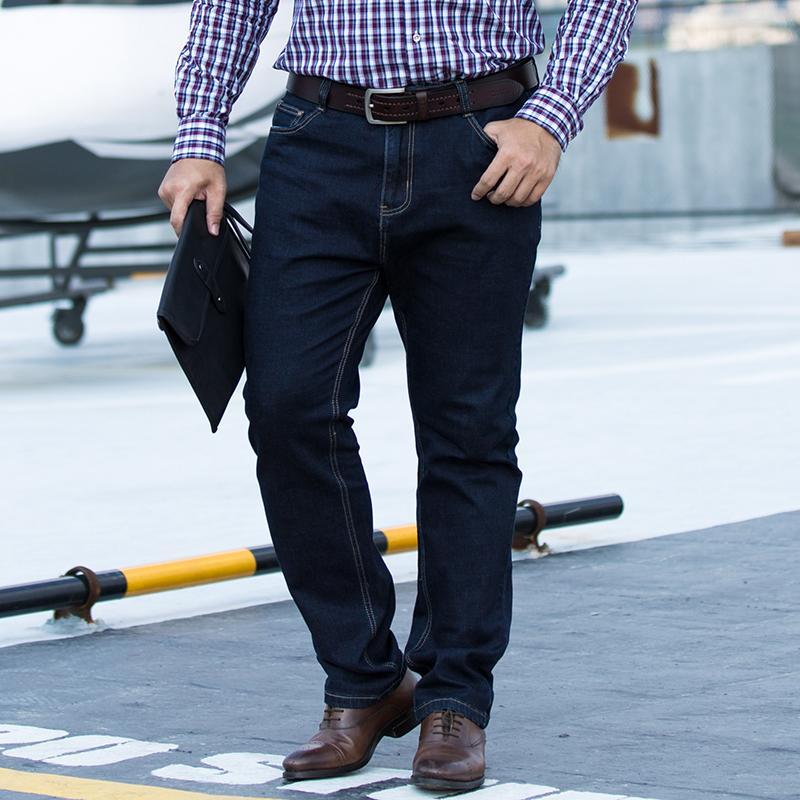 c44d5d8ec32 2019 Plus Size 44 46 48 50 52 New Men S Casual Fashion Business Classic Men  Jeans Dark Blue Brand Light Wash Designer Trousers Denim From  Qualityclothes