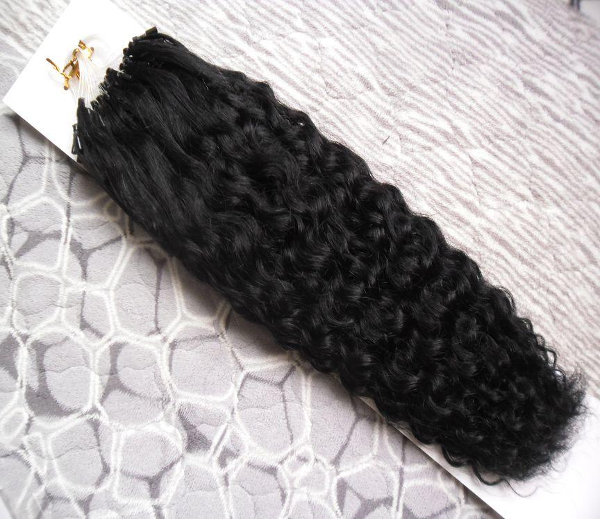 Capelli naturali ricci crespi dei capelli umani dell'anello di micro anello dei capelli di Remy ricci crespi 100G 1G / fili