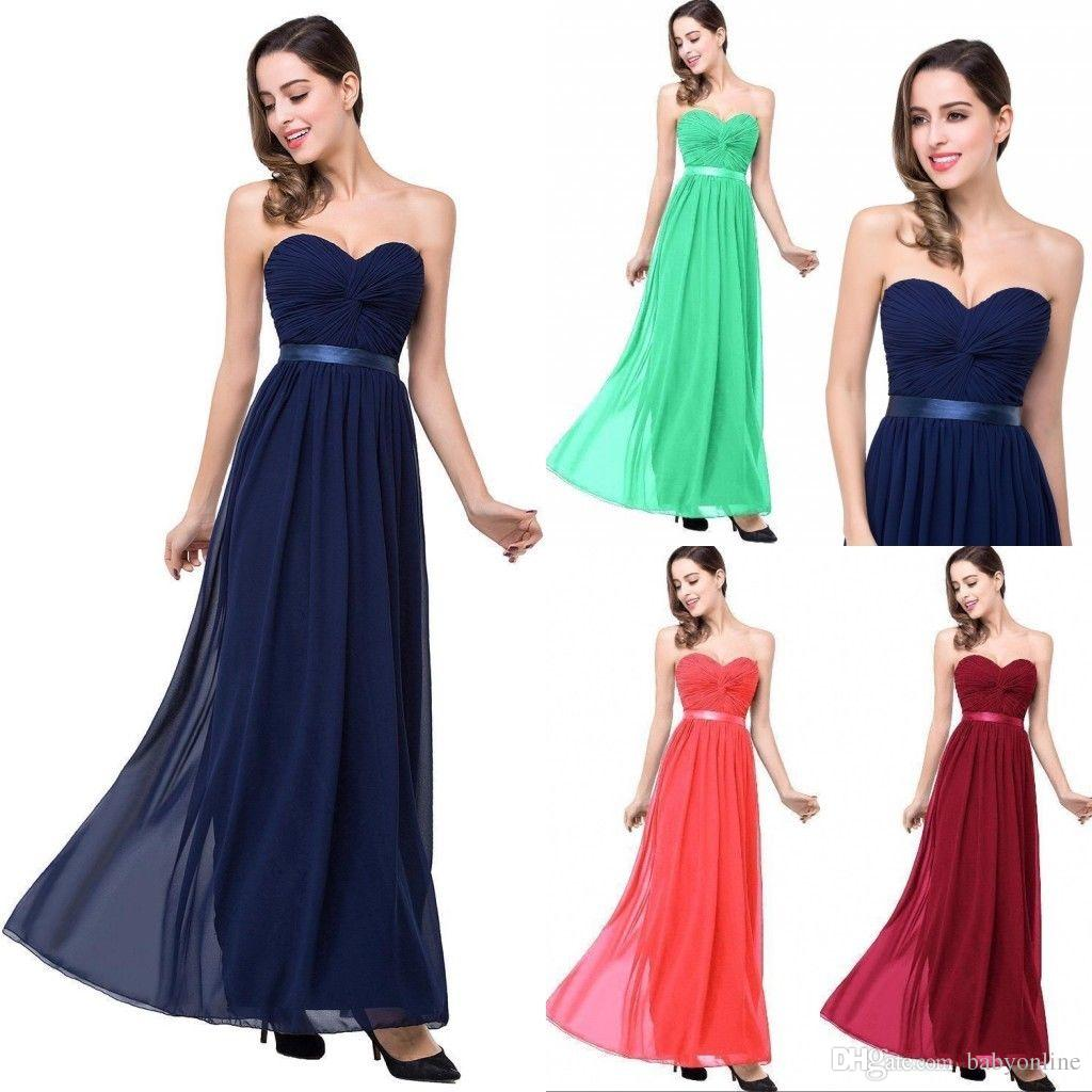 Cheapest Custom Made Chiffon Bridesmaids Dresses For Summer Beach Weddings A Line Sweetheart Backless Long Wedding Guest Gowns BM0134