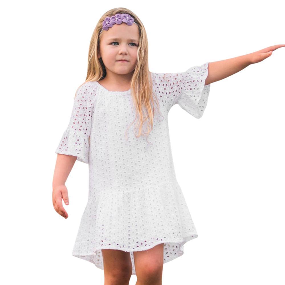 80ac21e1d0a9e Acheter Enfant En Bas Âge Bébé Filles Robe Dentelle Creuse Volants À Manches  Courtes Robes D été Plage Outfit Vêtements Vestidos Roupas Infantis Menina  De ...