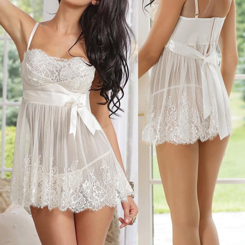 HOT New Women Ladies Lace Lingerie Sleepwear Nightwear Robe Sexy Mesh Nightgown G String Babydoll Night Dress chemise de nuit O1