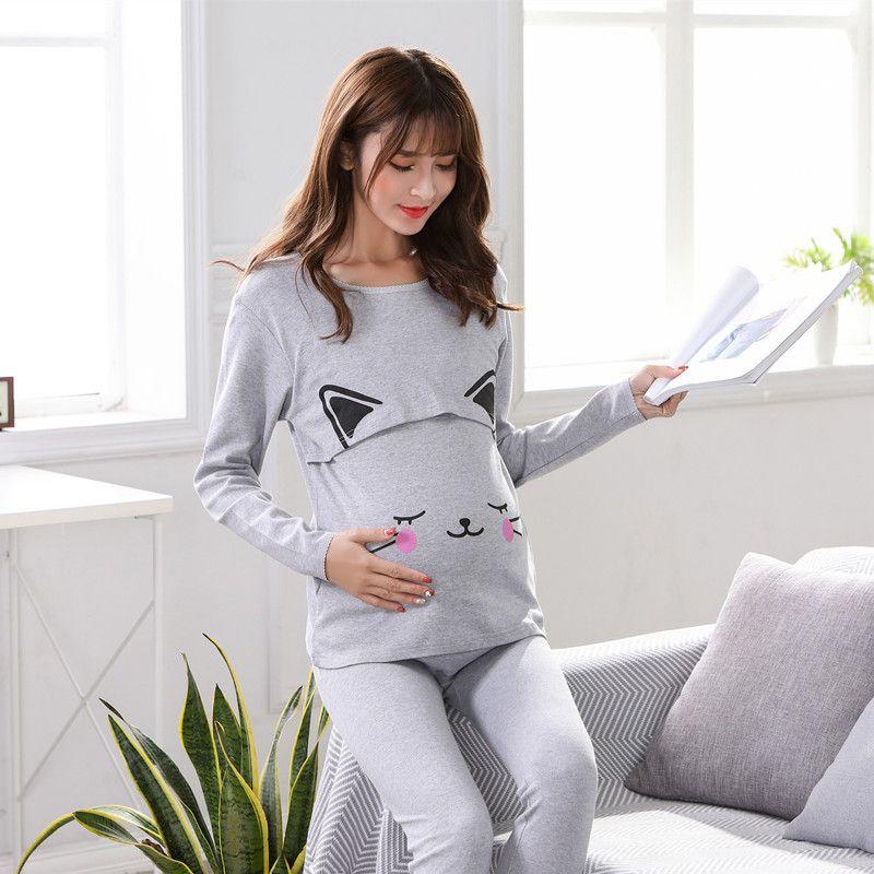 c1576ad308199 Women Breastfeeding Pajama Breast Feeding Nightwear Maternity Nursing  Pajamas Set Maternity Nursing Pregnancy Sleepwear+Pants
