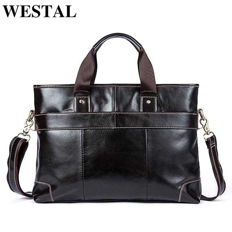 853d59c111 WESTAL Genuine Leather Mens Bags Crossbody Bags Casual Totes Men Briefcases  Laptop Messenger Bag Men S Shoulder Bag Handbags Black Bags Crossbody Purse  From ...
