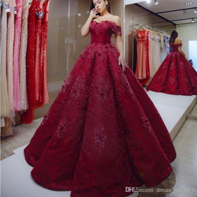Charming Dark Red Evening Dresses Off Shoulder Appliques Beaded Lace