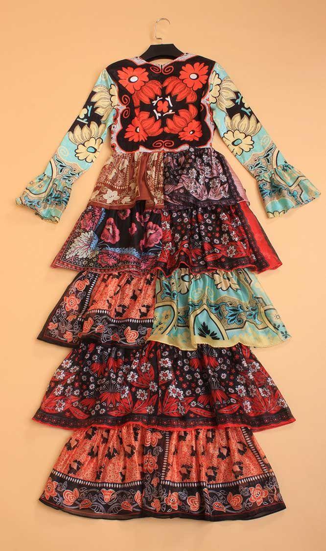 2020 filles et ladys robes couches de gâteau de style manches évasé de la mode, fête et robe d'impression festivel