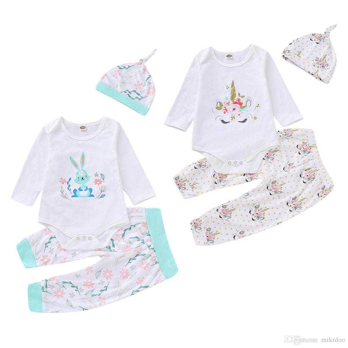 080abf6d4148e 2019 Mikrdoo Toddler Baby Boys Girls Cartoon Clothes Set Rabbit Elephants  Print Long Sleeve Romper Pant Hat Outfit Clothing From Mikrdoo, $10.74 |  DHgate.