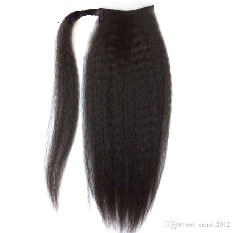 18 inch Wrap Around Human Hair Ponytail Extension Natural Black Ponytail One Piece Kinky Straight 100g 120g 140g