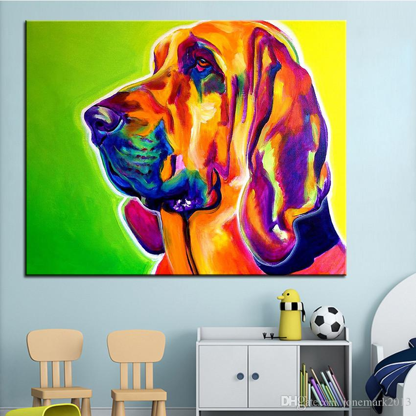 Large size Print Oil Painting Wall painting bloodhound sunligh Home Decorative Wall Art Picture For Living Room paintng No Frame
