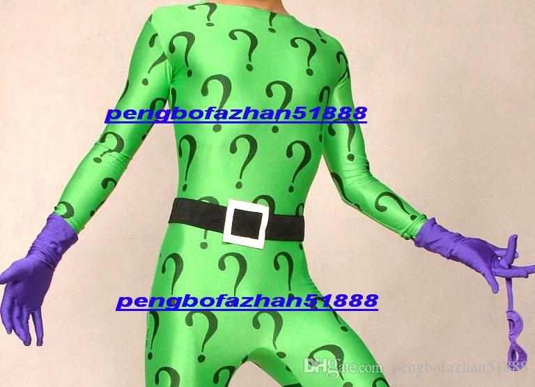 New Green Lycra Spandex Riddler Suit Catsuit Costumes Fantasy Rules Problem Mark Suit Outfit Unisex Riddler Body Suit With Purple Glove P274