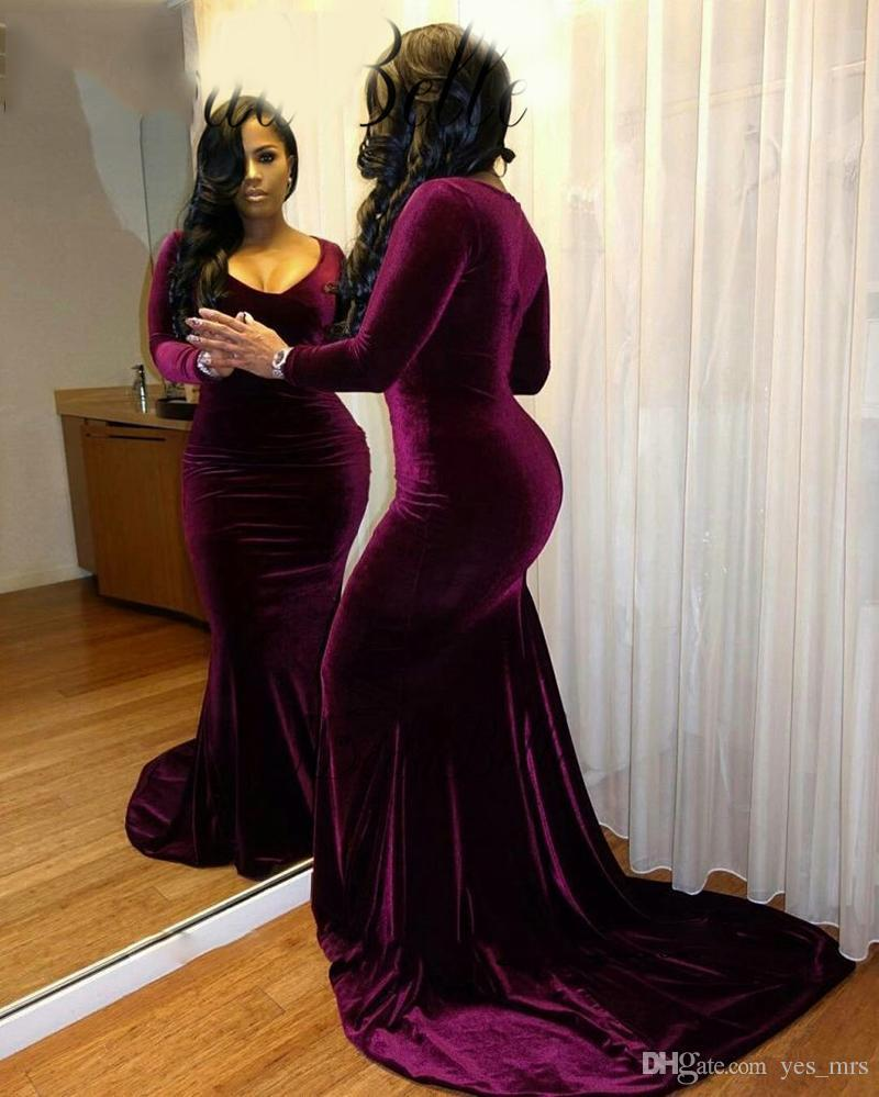 b6a580d25489 2018 African Plus Size Velvet Evening Dresses Wear Purple Black Girls Long  Sleeves Mermaid V Neck Formal Party Dress Court Train Prom Gowns Spree  Evening ...