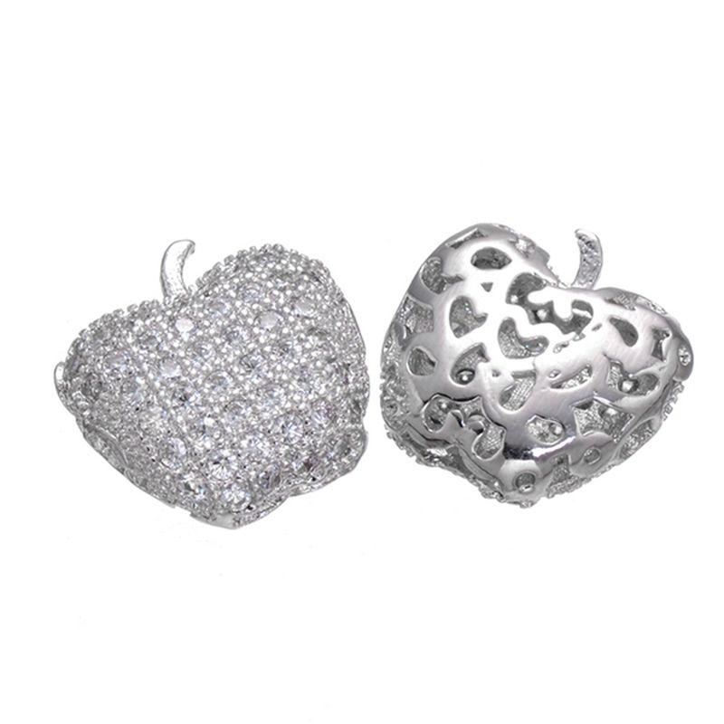 Wholesale Handmade Jewelry DIY Accessories European Style CZ Rhinestone Apple Shape Spacer Crystal Beads Charms Women Bracelets DIY Original