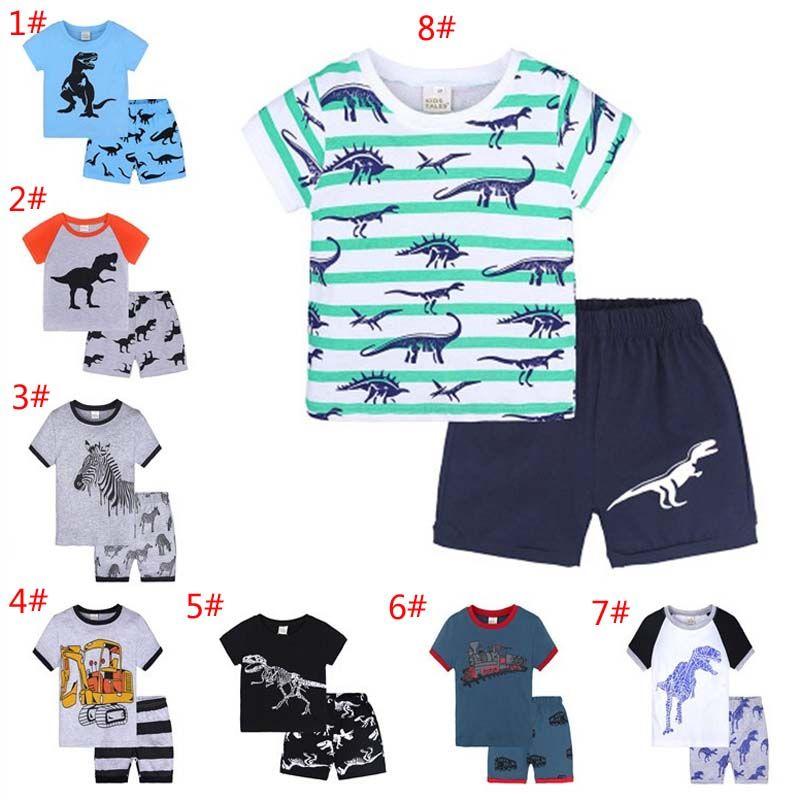 ca3271947d4f 16Styles Summer Baby Boys Girls Pajamas Sets Cartoon Dinosaur Striped  Printed T shirts+Pants 2pcs Set Kids Homewear Outfits Children Pajamas