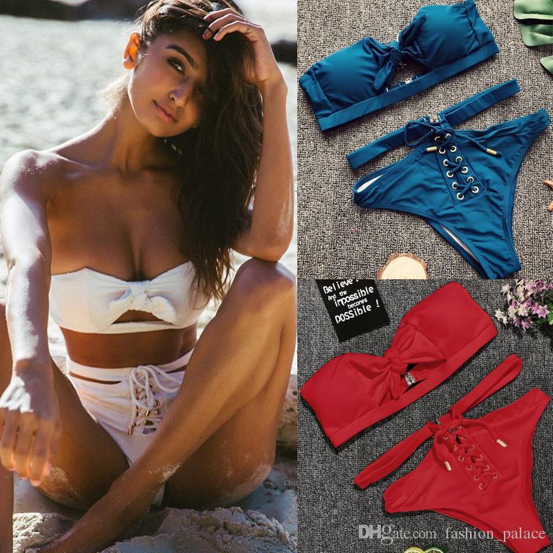 c7b194b740 Sexy Bandage Bikini Swimsuit Bow Knot Bandeau Bikini Top Hollow Out ...