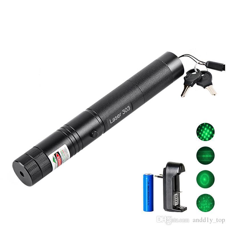 18.650 batarya ile 532nm Profesyonel Güçlü 301 Yeşil Lazer Pointer Kalem 303 Yeşil Lazer Pointer Kalem Lazer Işığı