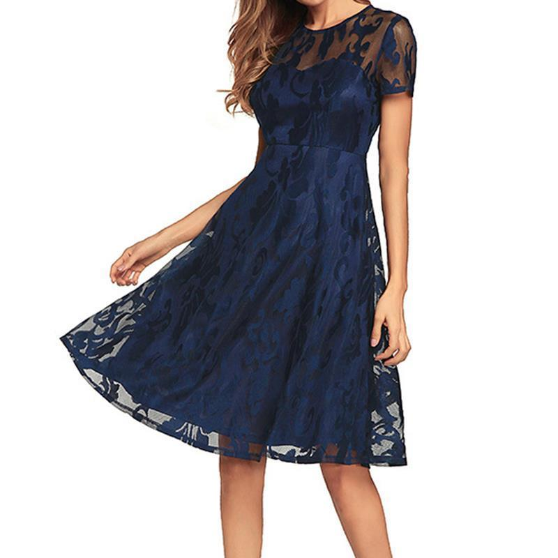 1051504c8f Women S Pleated Dresses 2018 Lace See Through Short Sleeves Summer Round  Neck Slim Fit Vestidos Tunic Party WS6018y Modest Prom Dresses Dresses On  Sale From ...
