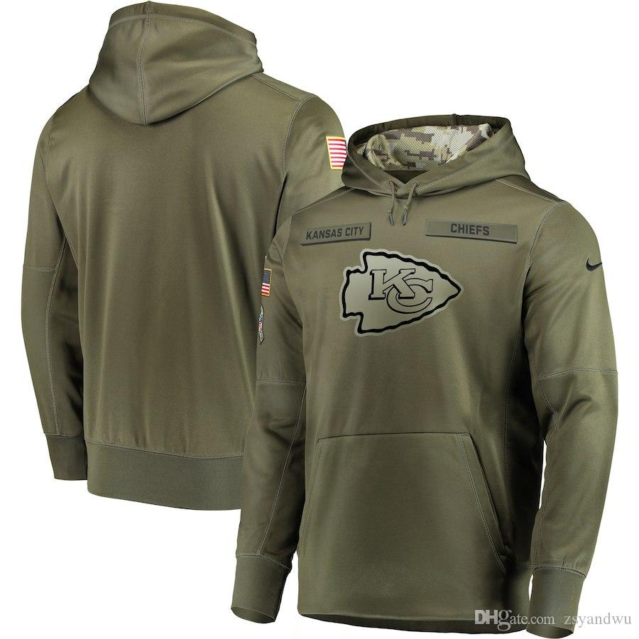 huge discount e2eae 13129 Kansas City Sweatshirt Chiefs Salute to Service Sideline Therma Performance  Pullover Hoodie Olive