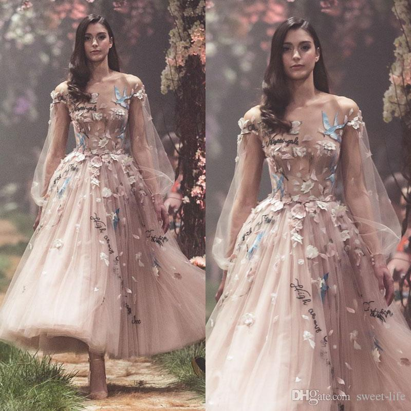 2019 Sexy Paolo Sebastian Prom Dresses Long Sleeves Flower Embroidery Party Evening Gowns Appliques Ankle Length Tulle Formal Wear