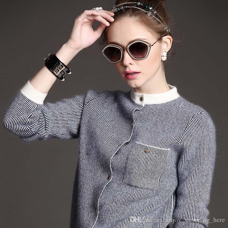 4b4aa855915 Luxury Women Designer Sweaters Cardigan Striped Wool Fleece Long Sleeve  Thick Knitted Coat Fashion New Style Autumn Winter Women Jackets Luxury  Women ...