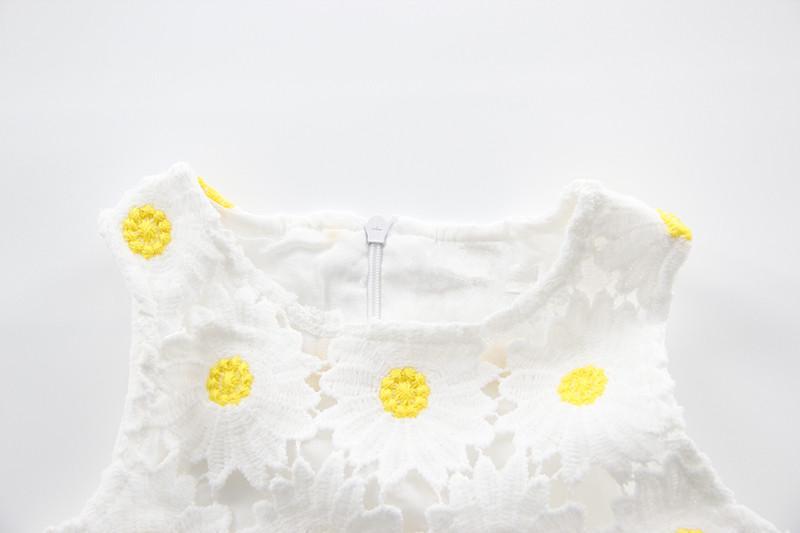 Mudkingdom Toddler Girl Dresses Summer O-neck Sunflower Lace Hollow Sleeveless Girls Dress Cute Casual Children Clothing