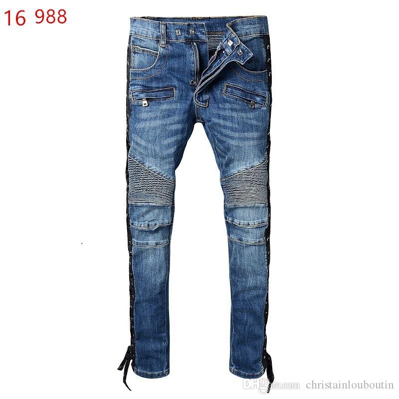 2019 Balmain Moda Yeni erkek Biker Jeans Motosiklet Slim Fit Yıkanmış Mavi Moto Denim Erkekler Için sıska Elastik Pantolon Joggers kot