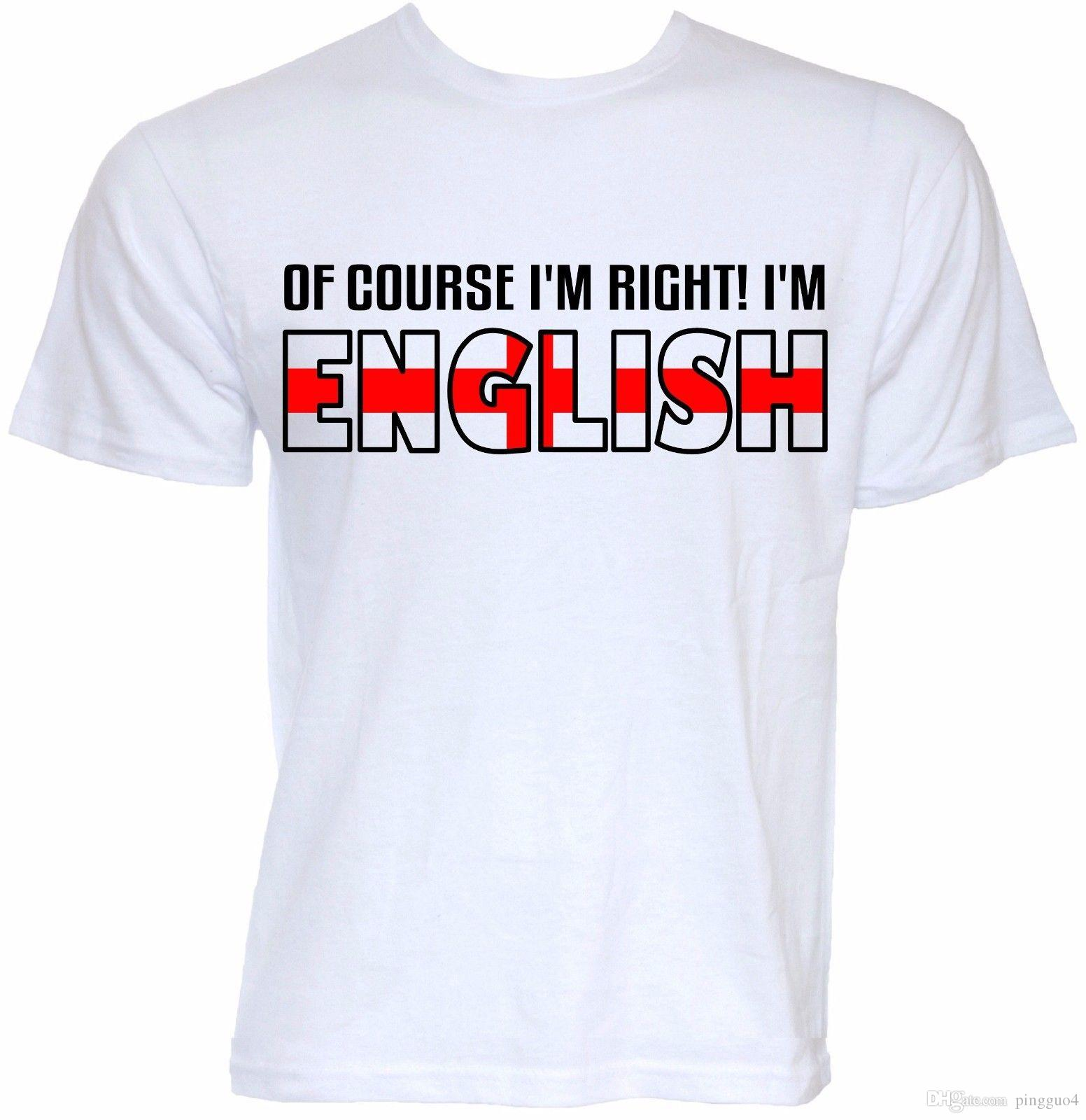 5460b578 MENS FUNNY COOL NOVELTY I'M ENGLISH ENGLAND FLAG SLOGAN JOKE BRITISH T- SHIRTS Summer T Shirt Brand Fitness Body Building