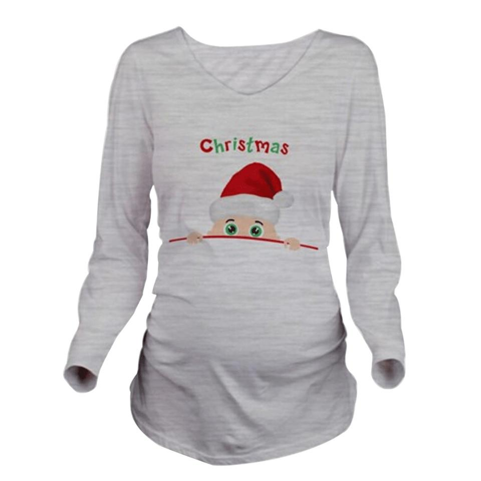 Fashion Pregnancy Maternity Clothes Santa Claus Print Cotton Tops/T-shirt O-neck Nursing Tops For Pregnant Women Ropa Maternal