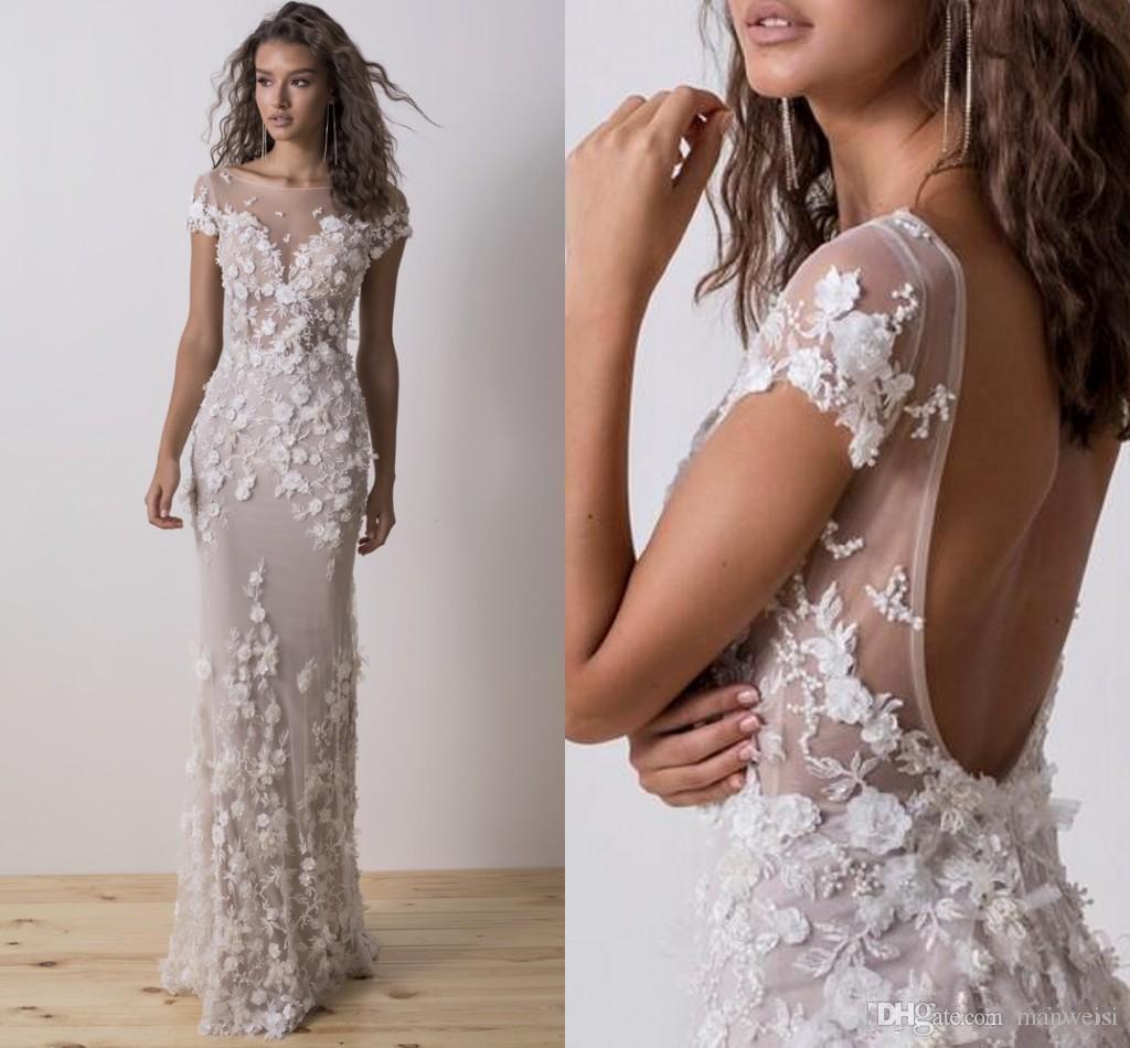 027707eda6c4 Acquista Dimitrius Dalia Mermaid Abiti Da Sposa 2018 Modest Backless 3D  Floral Lace Beaded Tromba Beach Garden Civil Bridal Gown A  171.71 Dal  Manweisi ...
