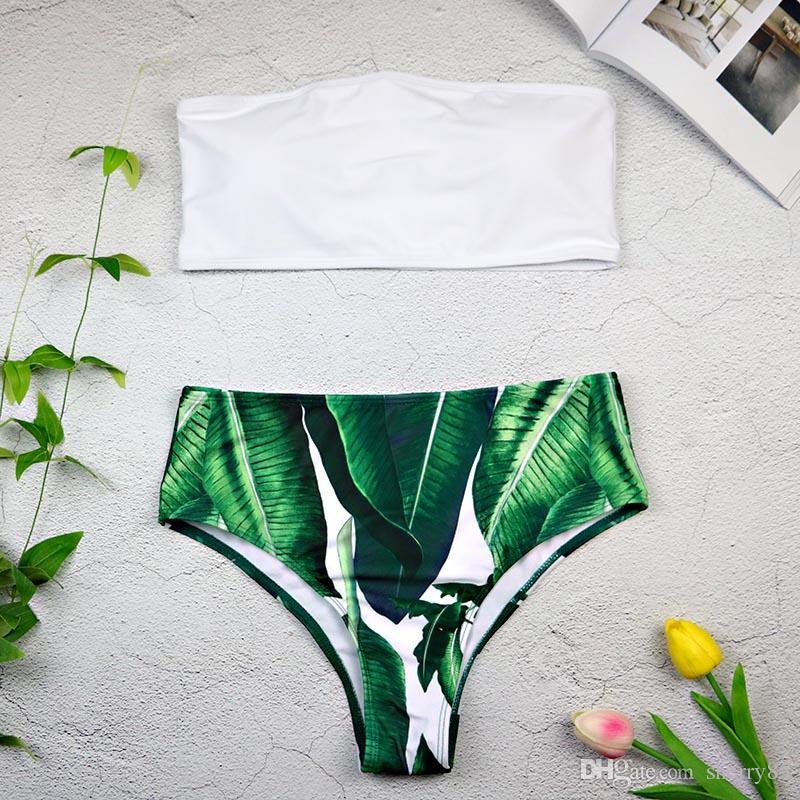 4f5886af178 2019 High Waist Print Bikini 2018 New Swimwear Women Off Shoulder Bikini Set  Striped Bathing Suits Green Leaf Bikinis 3360 From Sherry85, $18.98 |  DHgate.