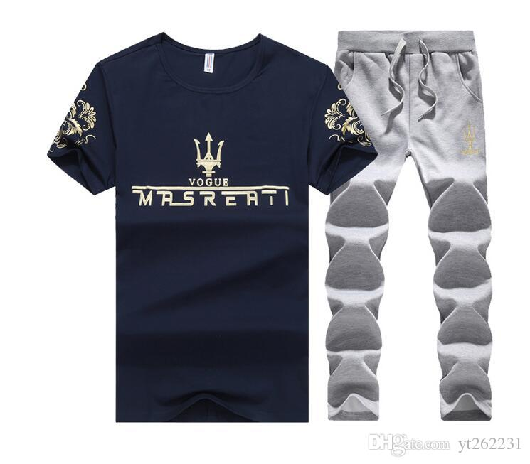 Sporting Suit Short Sleeve Tracksuit Men 2018 New Summer Men Set T shirt+Shorts Two Piece Set Sweat Suit+Pants Quick Drying