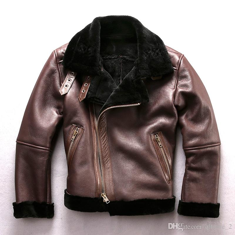 fa3c6ba1c6c 2019 AVIREXFLY USA Men Genuine Leather Jackets Flight Jackets With Diagonal  Zipper Lamb Fur Lining Jackets From Qltrade 2