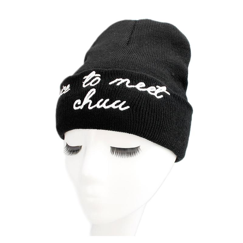 Solid Beanies Cap For Men Women Letter Knitted Skullies Couple Hat Nice To  Meet A Caps Black Pink Warm Winter Ski Hats MX17272 Fedora Hat Baseball  Caps From ... db113743049