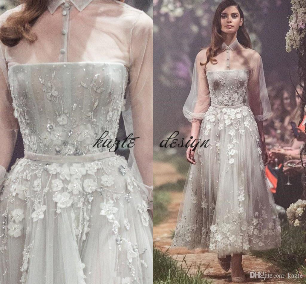 2018 Paolo Sebastian Prom Dresses 3D Floral Lace Appliqued Sheer High Neck  Party Gowns Ankle Length Vestidos De Fiesta A Line Evening Dress In Stock  Prom ... 22fefa6e8ce0