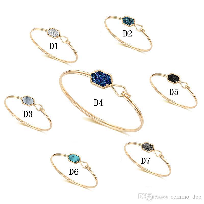 Vendita calda designer Druzy Bangle bracciali le donne geometriche pietra naturale catena di filo di fascino di lusso gioielli fai da te in massa