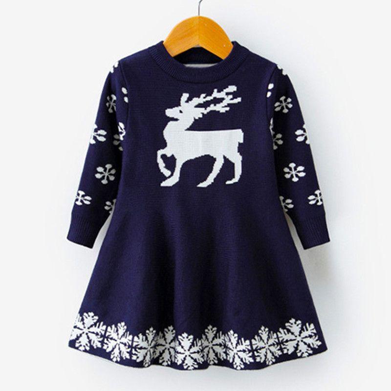 3db81a613705 Acquista Vestito Da Natale Le Ragazze Inverno Manica Lunga Bambini Ragazza  Abbigliamento Babbo Natale Renna Costume Toddler Girl Festival Party Wear  6T A ...