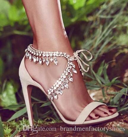 7c4ddd4f44b Newest Style Rhinestone Gladiator Sandals Women Suede Strappy High Heels  Shoes Woman Lace Up Fashion Pumps Zapatos Mujer Bridal Shoes Cheap Shoes  From ...